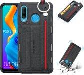Let op type!! Voor Huawei P30 Lite doek textuur + TPU schokbestendige beschermhoes met metalen ring & houder & kaartsleuven & hangende riem (zwart)
