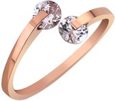 Geshe®-Zirkonia ring rosegoud RVS verstelbare ring verstelbaar rose goud zirkonia cadeautje vrouw Feest Your Fashion Signature!-Eco verpakking