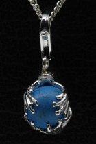 Zilveren Kikker op turquoise bal hanger én bedel