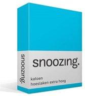 Snoozing - Katoen - Hoeslaken - Lits-jumeaux - 200x200 cm - Turquoise