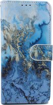 Samsung Galaxy A40 Hoesje - Portemonnee Hoesje met Kaarthouder & Magneetsluiting - Wallet Case - Marmer Blauw Print