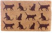 Deurmat - Kat / Katten silhouet - Kokos 75 x 45 cm