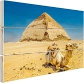 Kameel voor een piramide  Hout 60x40 cm - Foto print op Hout (Wanddecoratie)