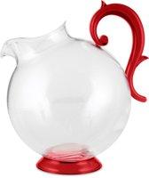 Baci Milano Aqua kunststof schenkkan transparant met rode voet en handvat - 2.25L