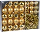 32x Gouden kunststof kerstballen 4-5-8 cm/folieslinger  - Mat/glans/glitter - Onbreekbare kerstballen - Kerstboomversiering goud