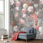 Behang Poster Colorful florals en retro Golden age