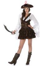 Bruin-wit piraten kostuum voor vrouwen - Volwassenen kostuums
