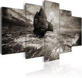 Schilderij - Schip in zware Storm, 5luik