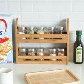 Kruidenrekje voor 10 kruidenpotjes - Keukenrek / staand specerijen rek van bamboe hout - 2 laags keukenorganizer voor aanrecht - Decopatent®