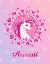 Armani: Unicorn Sheet Music Note Manuscript Notebook Paper - Magical Horse Personalized Letter S Initial Custom First Name Cov