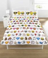 Emoji - Dekbedovertrek - Tweepersoons - 200 x 200 cm - Wit