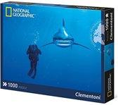 Clementoni National Geographic Legpuzzel Whitetip Shark 1000 Stukjes – 69x50x1cm   Puzzle Haai   Hobbypuzzel Diepzee