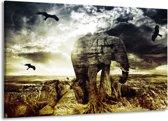 Canvas schilderij Olifant | Groen, Geel, Grijs | 140x90cm 1Luik