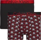 Calvin Klein - Heren 2-Pack Trunk Boxershorts Zwart Rood - L