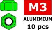 Team Corally - Aluminium zelfborgende zeskantmoer - M3 - Groen - 10 st