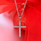 Van Santen Fashion Charm Jewelry Ketting met hanger kruisje en steentjes crystal
