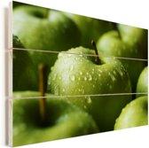 Natte groene appels Vurenhout met planken 90x60 cm - Foto print op Hout (Wanddecoratie)