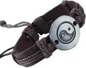 Fako Bijoux® - Armband - Leder - Yin Yang - Bruin