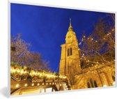 Foto in lijst - De St Reinoldi kerk in Dortmund in de avond fotolijst wit 60x40 cm - Poster in lijst (Wanddecoratie woonkamer / slaapkamer)