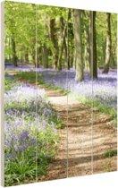 Klokjes die in het bos groeien Hout 20x30 cm - Foto print op Hout (Wanddecoratie)
