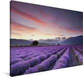 Zonsondergang boven lavendels Canvas 120x80 cm - Foto print op Canvas schilderij (Wanddecoratie woonkamer / slaapkamer)