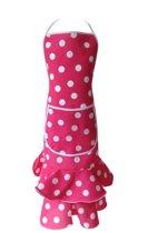 Spaanse schort - Flamenco - keukenschort roze wit Luxe verkleedkleding