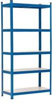 Opbergrek | Heavy-duty | 175kg draagvermogen per plank | 90x40x180 cm | Blauw