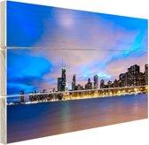 Wolken boven Chicago Hout 80x60 cm - Foto print op Hout (Wanddecoratie)