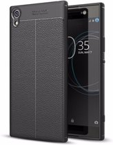 Teleplus Sony Xperia XA1 Ultra Leather Textured Silicone Case Black hoesje