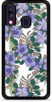 Galaxy A40 Hardcase hoesje Purple Flowers