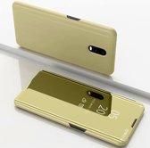Let op type!! Voor Xiaomi Redmi 8A plating spiegel horizontale Flip lederen draagtas met beugel holster (goud)