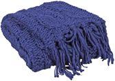 Woonexpress Brei - Plaid - Polyester - 110 x 140 cm - Blauw