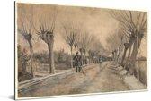 Weg in Etten - Schilderij van Vincent van Gogh Aluminium 30x20 cm - klein - Foto print op Aluminium (metaal wanddecoratie)