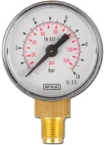 0..25 Bar Manometer Verticaal Staal/Messing 63 mm Klasse 1.6 - MW02563SV