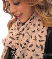 Fashionidea - Mooie licht roze hippe sjaal met zwarte kitten opdruk in graffiti look