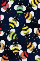 Wide Ruled Composition Notebook 6 X 9. Colorful Bees on Black Design Art
