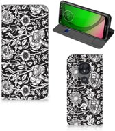 Motorola Moto G7 Play Smart Cover Black Flowers