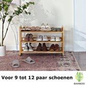 Bamboe schoenenrek met 3 etages – Houten opbergrek voor 9 tot 12 paar schoenen – Ruimtebesparend 76 cm – 3 laags schoenenplank - Decopatent®