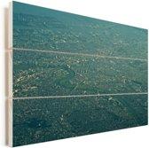 Luchtfoto van Kawasaki in het Aziatische Japan Vurenhout met planken 30x20 cm - klein - Foto print op Hout (Wanddecoratie)