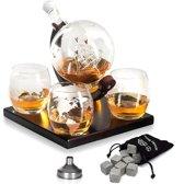 Luxe Whiskey Karaf Set - Whisky Decanteerkaraf - Globe Decanter met 4 wereldbol glazen & 8 whisky stones
