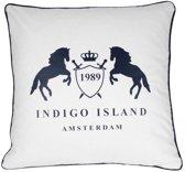 Sierkussen 60x60 cm - Indigo Island Amsterdam - ''Galloway & Layton'' - Signature embleem - wit, blauw met piping - Dons