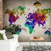Fotobehang Watercolour World Map | VEM - 104cm x 70.5cm | 130gr/m2 Vlies
