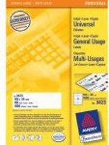 Avery witte etiketten QuickPeel  formaat 105 x 35 mm (b x h) 1.600 stuks 16 per blad doos van 100 blad