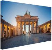 Brandenburger Tor bij zonsondergang Canvas 120x80 cm - Foto print op Canvas schilderij (Wanddecoratie woonkamer / slaapkamer) / Steden Canvas Schilderijen