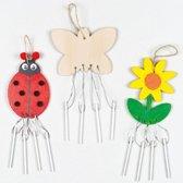 Houten windklokken met insecten en bloemen - creatieve knutselpakket voor kinderen om te schilderen en versieren (4 stuks)