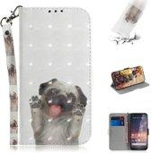 Let op type!! 3D gekleurde tekening hond patroon horizontale Flip lederen case voor Nokia 3 2  met houder & card slots & portemonnee
