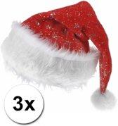 3x Kerstmuts met zilveren sterren