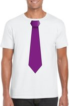 Wit t-shirt met paarse stropdas heren L