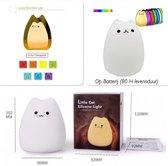 Nachtlampje - Baby – Kind - Kinderkamer - Poes/ Kat – Schattig – Led Gekleurd / Wit Licht | Gebruiksvriendelijk - Sfeervol – Batterij - Siliconen- Staand - Bedlampje