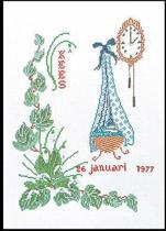 Thea Gouverneur Borduurpakket 861A Geboortetegel Januari - Aida stof 100% katoen